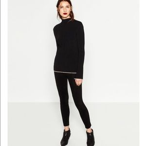 Zara faux sueded side zip legging sz.L