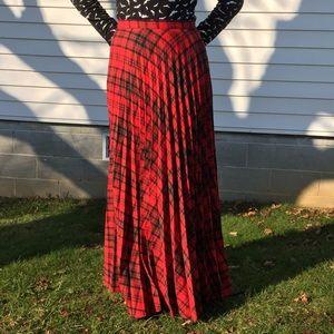 Vintage Dresses & Skirts - VTG plaid tartan accordion maxi skirt 12 M/L