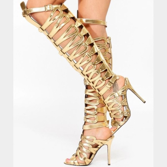 27bab9fcdc311 Breckelles Shoes - NWOT Gold Thigh High Gladiator Heels