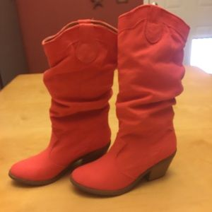 Charlotte Russe Shoes - Coral cowgirl boots