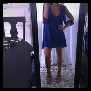 OASAP blue dress open shoulder slit