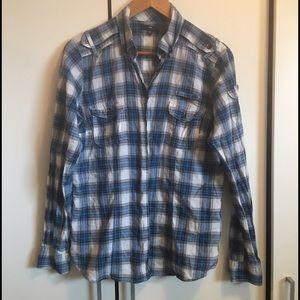 Gap Blue & White Plaid Button Down Shirt
