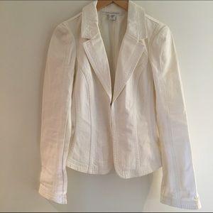 Diane Von Furstenberg ivory cream denim blazer