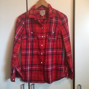 Old Navy Red Thin Flannel Plaid Button Down