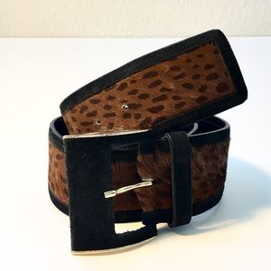 ECHO Accessories - ECHO Italian Leather Pony Hair & Suede Belt, AS IS
