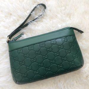 Gucci Handbags - NWT [Gucci] Green Guccissima Wristlet