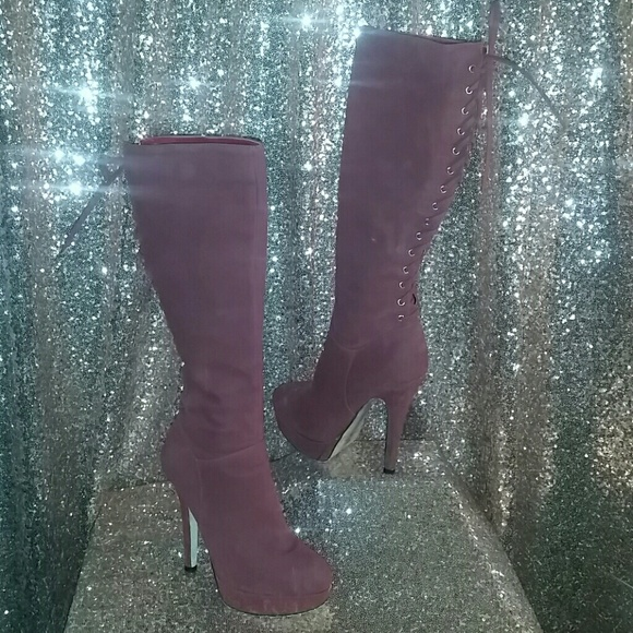 Just Fab Wine Colored Lace Up Boots 0048be529