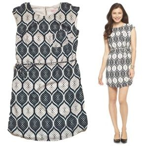 Printed Crepe Shift Dress With Tie