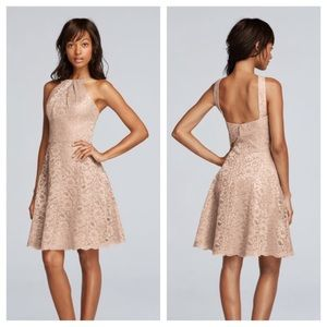 Metallic Short All Over Lace Dress with Y Neck