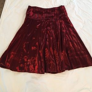 Shimmer Red A Line Midi Skirt —Large