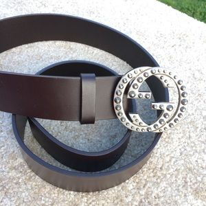 Gucci Accessories - Gucci Brown Leather belt w/ Studded Interlocking G