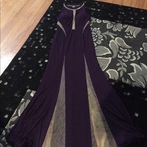 Eggplant and sheer maxi dress