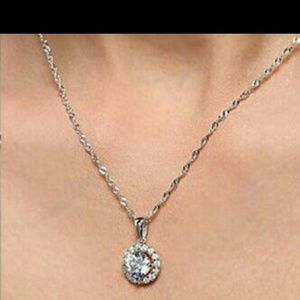 Necklace diamond cz silver 925 halo pendant