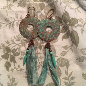 Jewelry - Handmade Copper/Turquoise Siri Silk Earrings