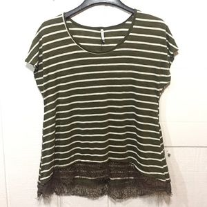 •NWOT! Olive Green Lace Trim Top•