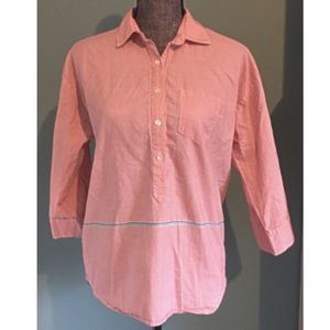 J. Crew Boyfriend Cotton Popover Shirt Red Stripe