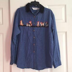 Tops - Tacky Christmas Cat Jean Shirt