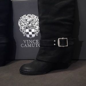 5be6bd554e3a Vince Camuto Shoes - Black Brushed Suede Boots VC- Alician