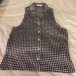 Black and White Plaid Sleeveless Equipment Blouse