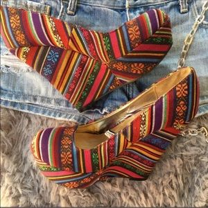 Mossimo Supply Co. Shoes - Multi Color Patterned Wedges.