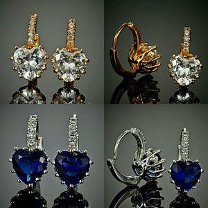 18k white & gold plated Blue/Crystal Hoop Earrings