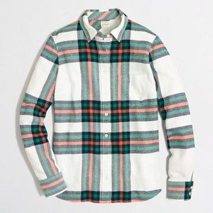 J. Crew Tops - J.Crew the perfect shirt ivory flannel shirts NWOT