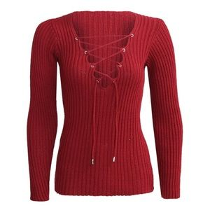 Sweaters - Lace up cross sweater