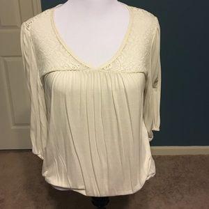 A.N.A. 3/4 Sleeve Cream Top w Crochet Detail
