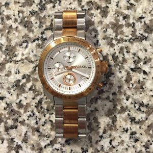 Silver and rose gold Fossil Watch