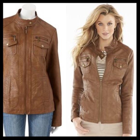 68% off Apt. 9 Jackets & Blazers - apt 9 // faux leather moto ...