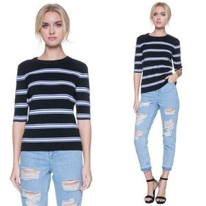 English Factory Tops - 🆕 Striped Round Neck Kitted Top