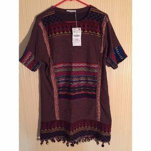 Zara Shift Bohemian/Aztec Dress with Pom Poms