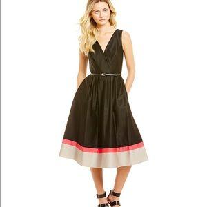 Calvin Klein color block hem fit + flare dress