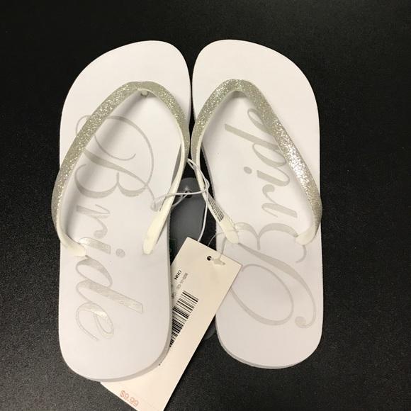 be17ffb8f NWT White Bridal Flip Flops SZ 7 8