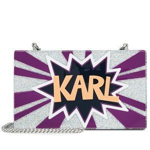 New Karl Lagerfield purple silver graphic clutch