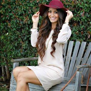 Blush long sleeve dress with cutout