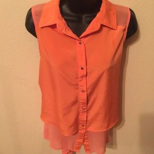 Kenneth Cole high Low Button Front Blouse