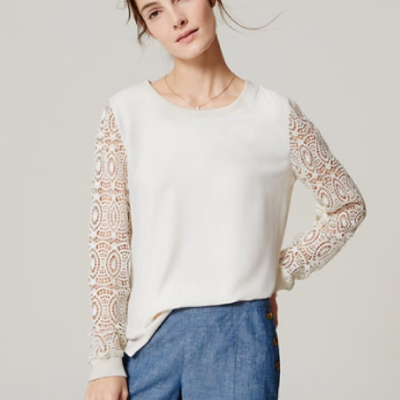 Ann Taylor LOFT Circle Lace Sleeve Blouse