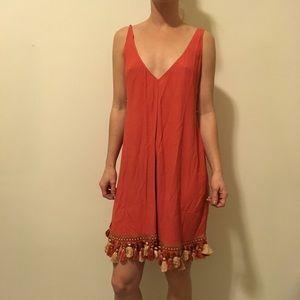 Reformation Dresses & Skirts - REFORMATION Orange Sleeveless Tassel Shift Dress