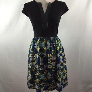 Kensie faux leather trim floral dress