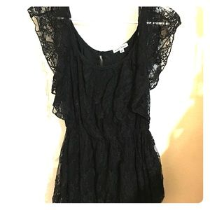 Lace Dress with sheer short sleeves