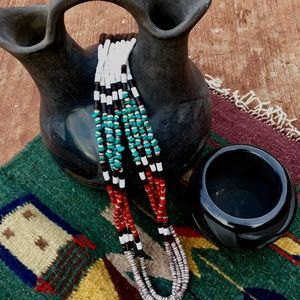 4- Strand Navajo Turquoise Coral Heishi Necklace