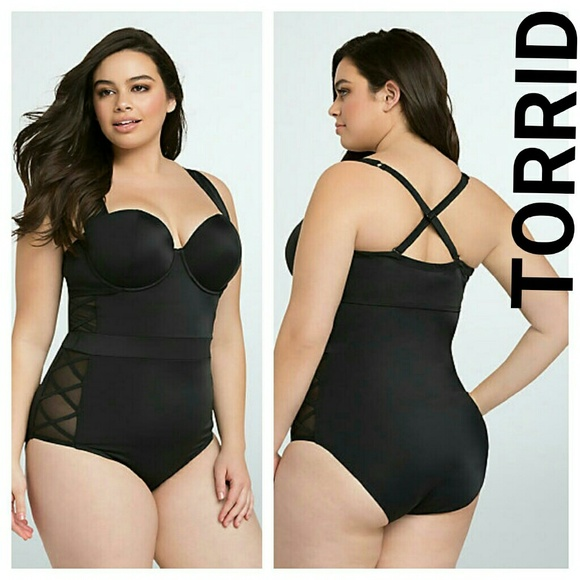 0278124125d8d Torrid Lattice One Piece Swimsuit 4x black xxxxl