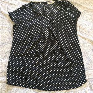 Tops - Black and white polka dot blouse.
