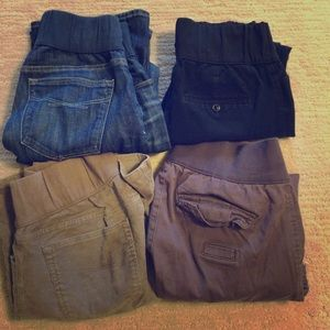 Four pairs of Gap size six maternity pants