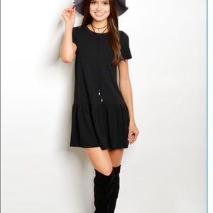 Basic black short sleeve dress pleated on bottom