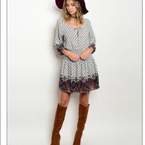Dresses & Skirts - Plaid Boho dress with elastic waist, 3/4 sleeve