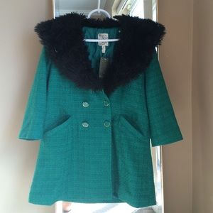 Tulle Jackets & Blazers - Vintage Style Peacoat Removable Faux Fur Collar