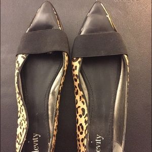 Leopard print and patent leather flats