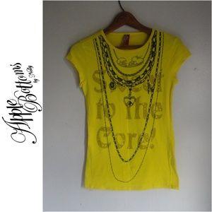Apple Bottoms Tops - Apple Bottoms Yellow Black Graphic Tee T Shirt